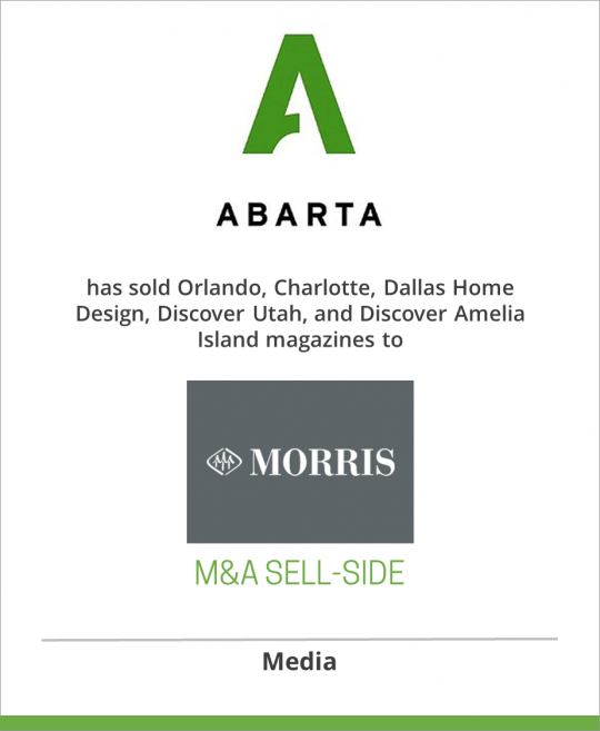 ABARTA Media Group has sold Orlando, Charlotte, Dallas Home Design, Discover Utah and Discover Amelia Island to Morris Communications Company LLC