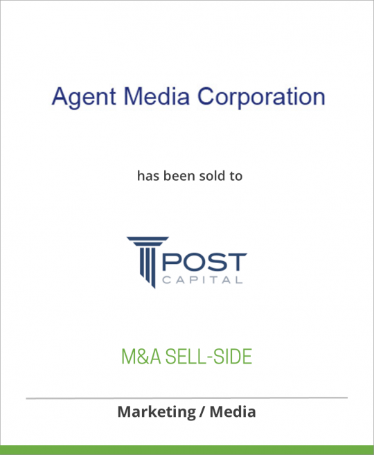Agent Media Corporation has been sold to Post Capital Partners LLC