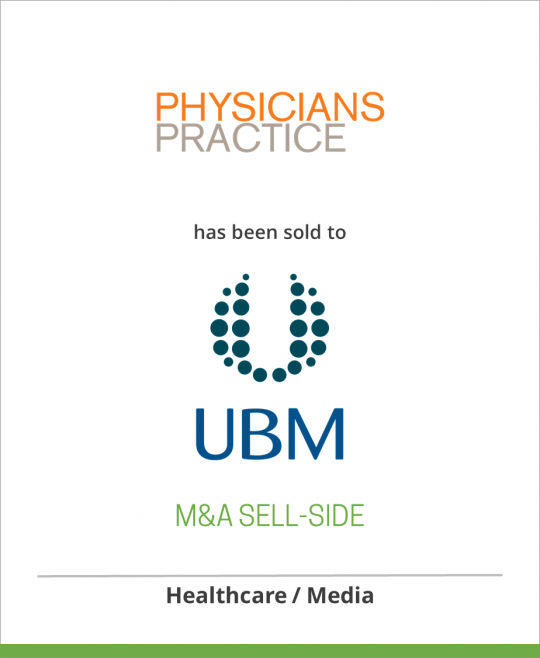 MESG LLC has sold Physicians Practice LLC to CMP Healthcare Media LLC, a subsidiary of UBM