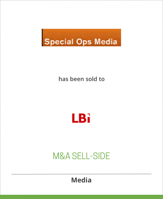 Special Ops Media has been sold to LBI International AB