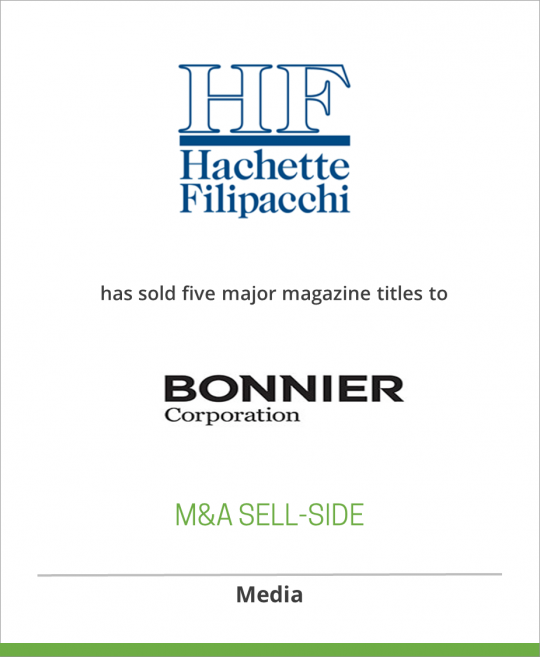 Hachette Filipacchi Media has sold five major magazine titles to Bonnier Corp