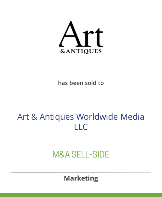CurtCo Publishing LLC has sold Art & Antiques Magazine to Art & Antiques Worldwide Media LLC