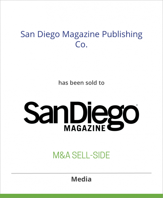 CurtCo Publishing LLC has sold San Diego Magazine Publishing Co. to San Diego Magazine LLC
