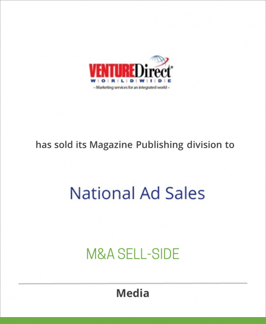 Venture Direct Worldwide has sold its Magazine Publishing division to National Ad Sales