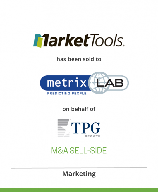 TPG Growth has sold MarketTools Research Solutions to MetrixLab