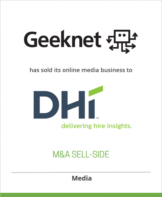 Geeknet, Inc. has sold its online media business, including Slashdot and SourceForge, to Dice Holdings, Inc. (nka: DHI Group, Inc.)
