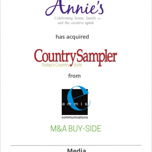 Annie's has acquired Country Sampler from Emmis Communications
