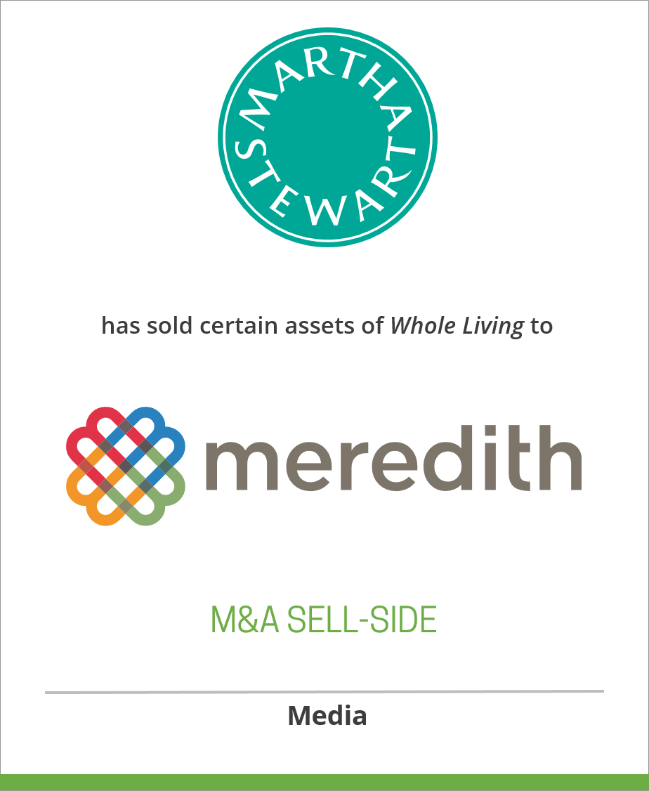 Martha Stewart Living Omnimedia has sold certain assets of Whole Living to Meredith Corporation.