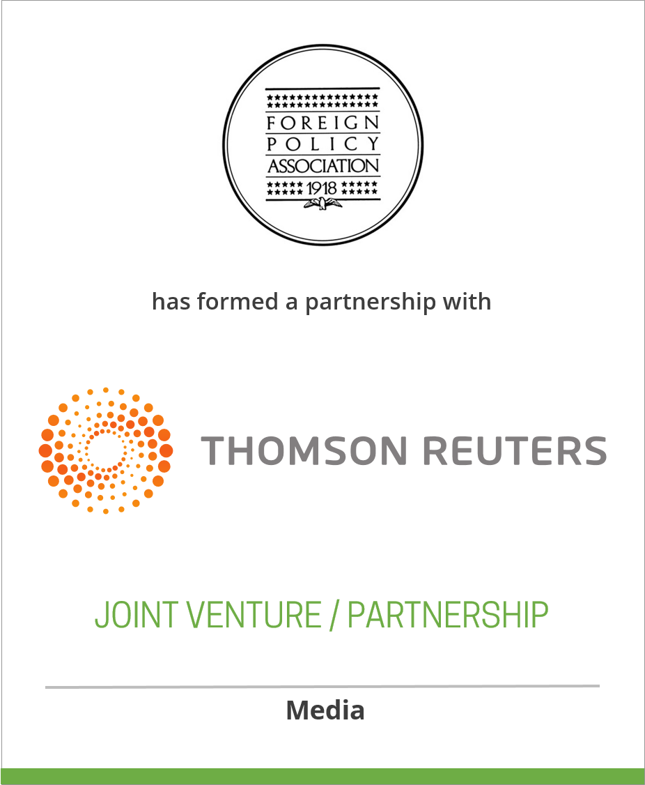The Foreign Policy Association has entered a partnership agreement with Thomson Reuters