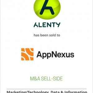 Alenty has been sold to AppNexus