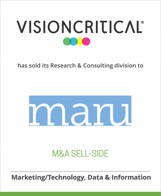 Vision Critical has spun off its Research Consulting division to MARU Group