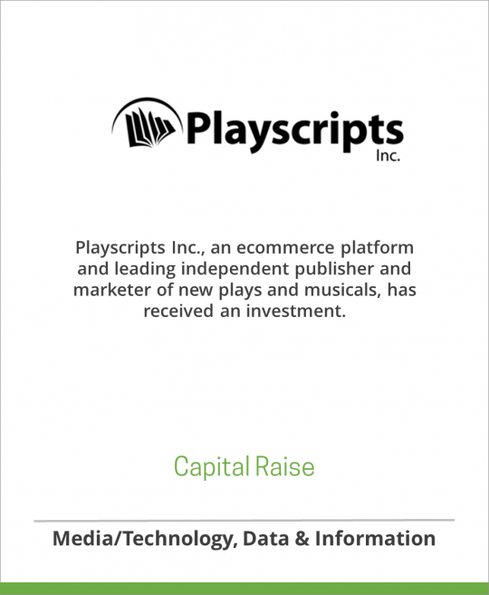 Playscripts has received an investment