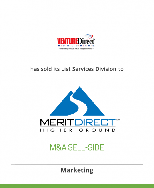 Venture Direct has sold its List Services division to MeritDirect