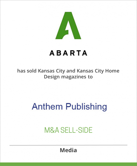 ABARTA Media Group has sold Kansas City and Kansas City Home Design magazines to Anthem Publishing, Inc.