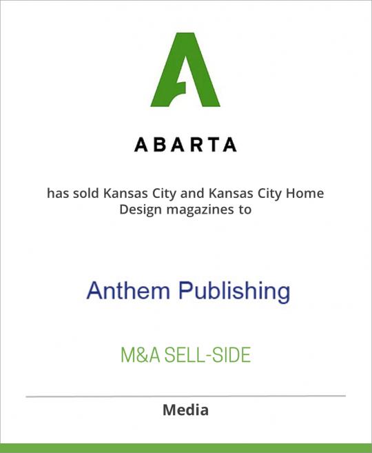 ABARTA Media Group has sold Kansas City and Kansas City Home Design magazines to Anthem Publishing, Inc.